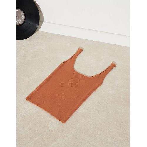 산드로 Sandro Ribbed knit cropped tank top,Terracotta