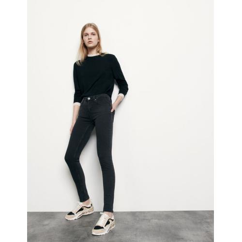 산드로 Sandro Medium-rise slim jeans,Black