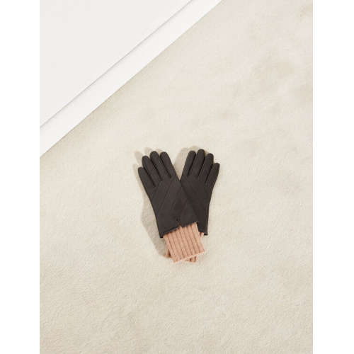 산드로 장갑 Sandro Quilted mixed-material gloves,Brown