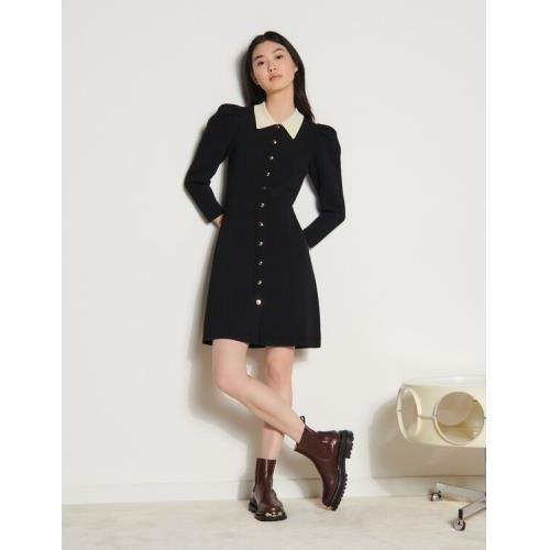 산드로 Sandro Balloon-sleeved dress,Black