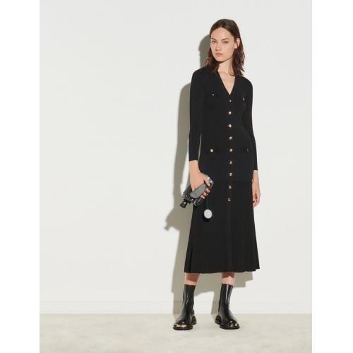 산드로 Sandro Long button-up cardigan dress,Black