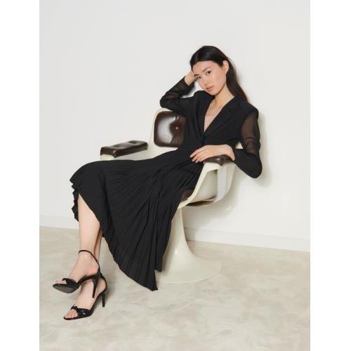 산드로 Sandro Long-sleeved dual-fabric dress,Black