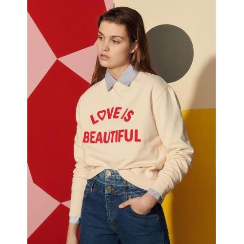 산드로 배색 모티프 맨투맨 - 라이트 베이지 (김연아 착용) Sandro SFPSW00326 Sweatshirt with contrasting block motif