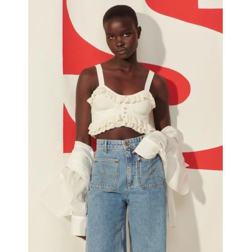 산드로 Sandro Lingerie-inspired knitted bra top,white