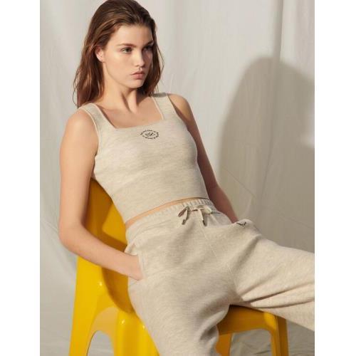 산드로 Sandro Knit bra top with embroidery,Mocked Grey
