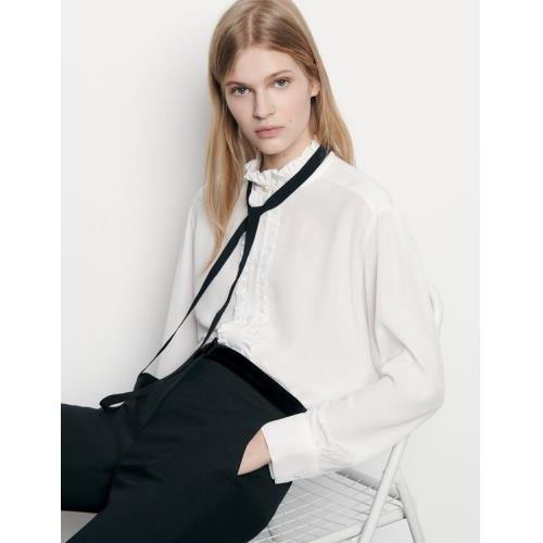 산드로 Sandro Silk blouse with ribbon,Ecru