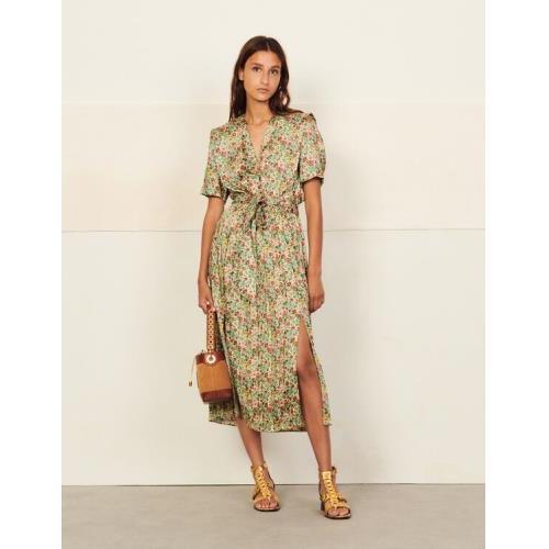 산드로 원피스 Sandro Long printed dress,Green / Pink
