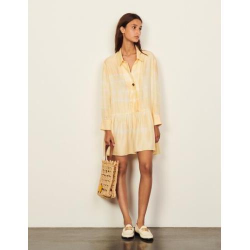 산드로 원피스 Sandro Short tie-dye silk dress,Light Yellow