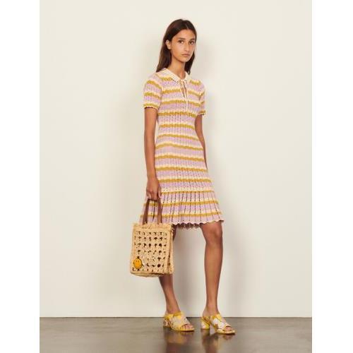 산드로 크로쉐 폴로 원피스 (김유정 착용) Sandro Multicoloured crochet polo dress,Multi-Color