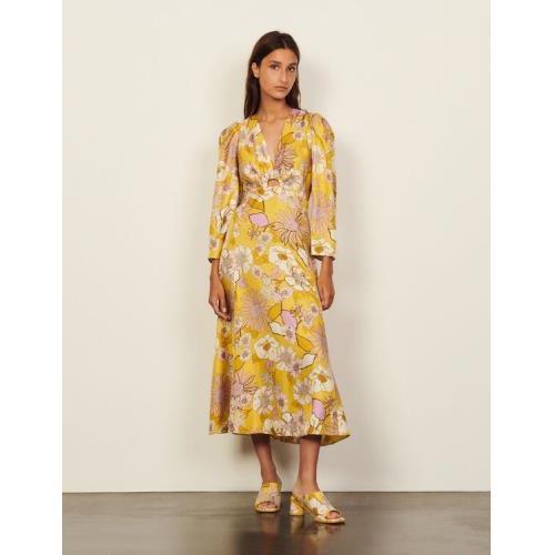 산드로 원피스 Sandro Long silk printed dresses,Yellow / Lilac