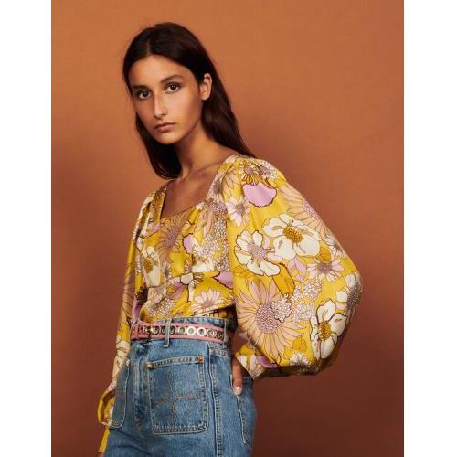 산드로 실크 탑 Sandro Printed silk top,Yellow / Lilac