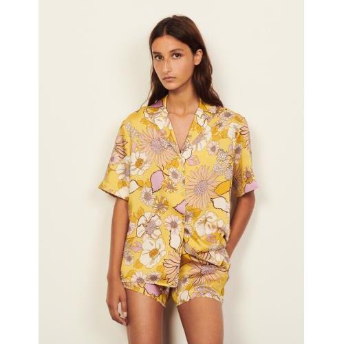 산드로 셔츠 Sandro Printed pajama shirt,Yellow / Lilac