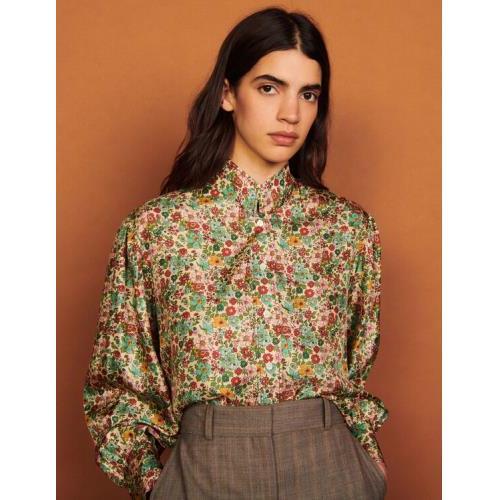 산드로 셔츠 Sandro Floaty printed silk shirt,Green / Pink