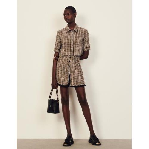 산드로 스커트 Sandro Short tweed skirt,Beige / Purple