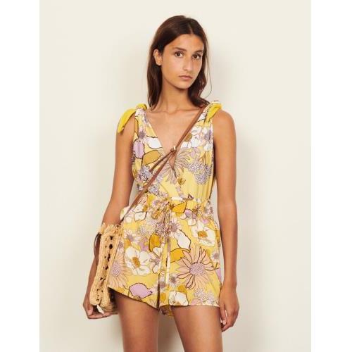 산드로 반바지 Sandro Floaty printed shorts,Yellow / Lilac