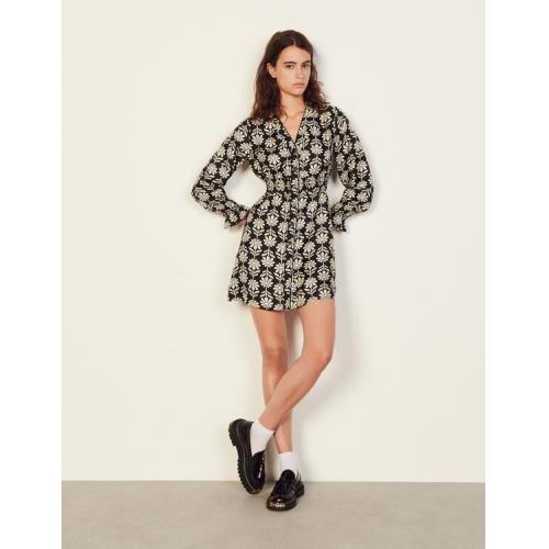 산드로 원피스 Sandro Short printed silk dress,Ecru / Black