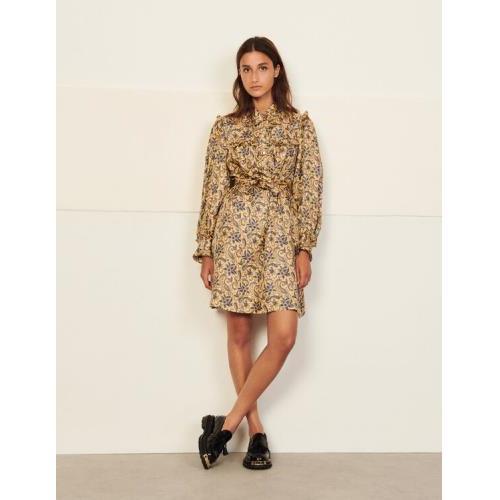 산드로 원피스 Sandro Short printed silk dress,Gold / Blue