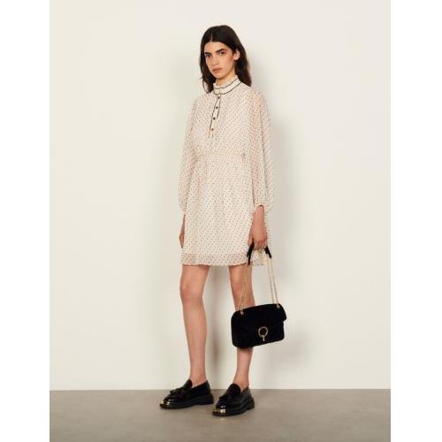 산드로 원피스 Sandro Short dotted Swiss dress,White / Blue