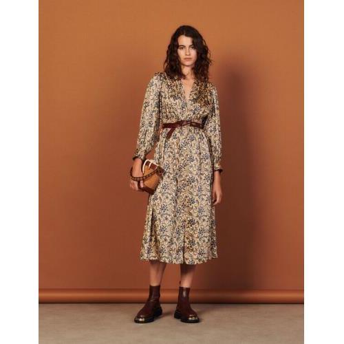 산드로 원피스 Sandro Long flowing printed dress,Gold / Blue