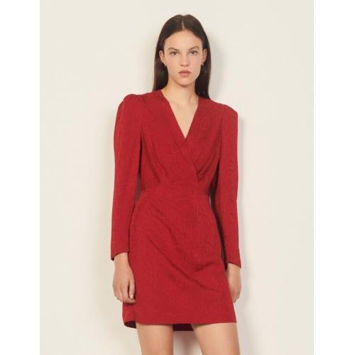 산드로 원피스 Sandro Short python-effect jacquard dress,Red bordeaux