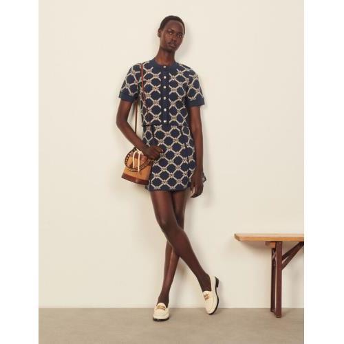 산드로 스커트 Sandro A-line knitted skirt with jacquard,Beige / Blue