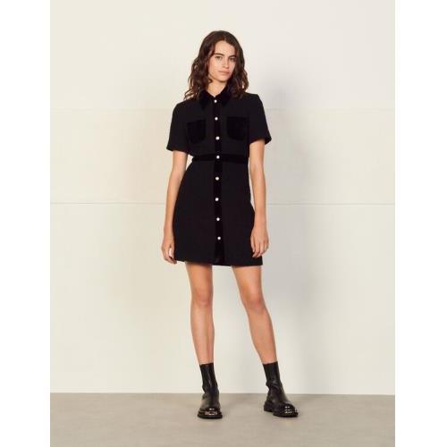 산드로 믹스 매치 트위드 원피스 Sandro Dual-material tweed dress,Black