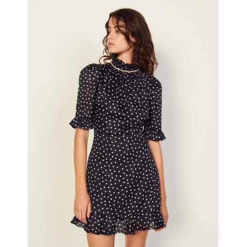 산드로 숏 폴카 도트 원피스 Sandro Short polka dot dress with jewels,Marine / Blanc