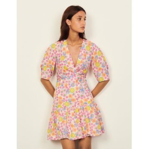산드로 스마일리 숏 원피스 Sandro Smiley Short dress with print,Pink