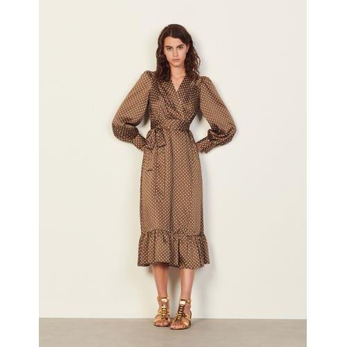 산드로 롱 프린트 원피스 Sandro Long flowing printed dress,Brown / Black