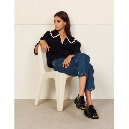 산드로 스웨터 Sandro Sweater with hand-knitted collar,Navy Blue