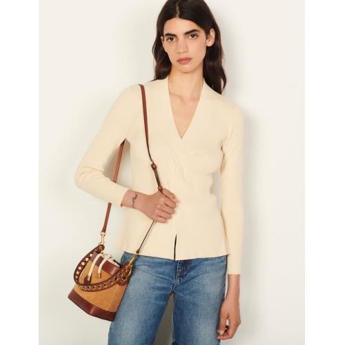 산드로 트위스티드 니트 스웨터 - 바닐라 Sandro Twisted knit sweater SFPPU01218