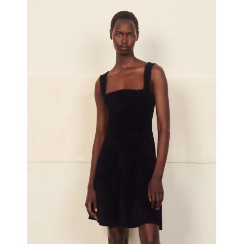 산드로 니트 원피스 Sandro Chenille knit bustier dress,Black