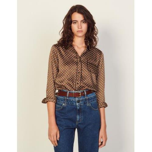 산드로 셔츠 Sandro Printed pyjama shirt,Brown / Black