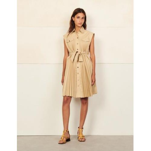 산드로 셔츠 원피스 Sandro Shirt dress with pleats,Beige