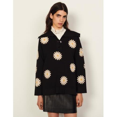 산드로 스웨터 Sandro Daisy patch sweater,Black