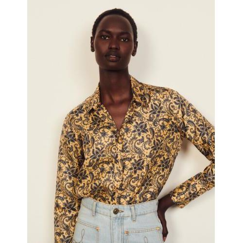 산드로 셔츠 Sandro Floaty printed silk shirt,Gold / Blue