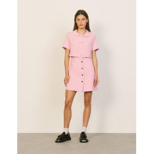 산드로 숏 트위드 원피스 Sandro Short tweed dress,Pink