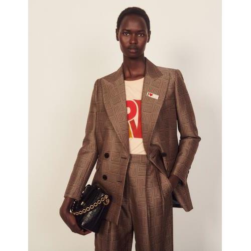 산드로 테일러드 자켓 Sandro Jacquard tailored jacket,Brown / Black