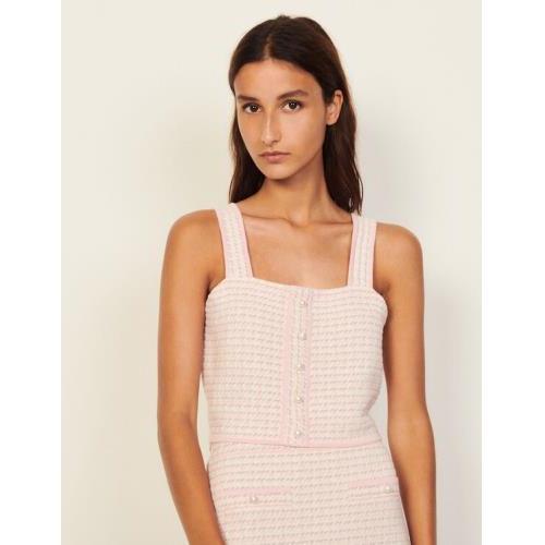 산드로 트위드 크롭 탑 Sandro Cropped top in fancy tweed,Pink