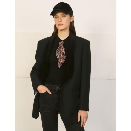 산드로 스웨터 Sandro Sweater with shirt collar and scarf,Black
