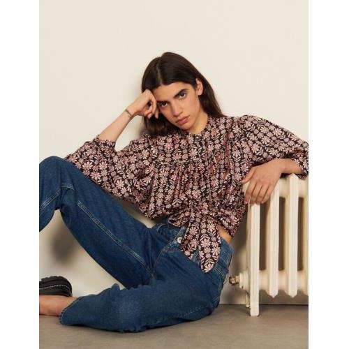 산드로 셔츠 Sandro Printed silk shirt,Black / Pink