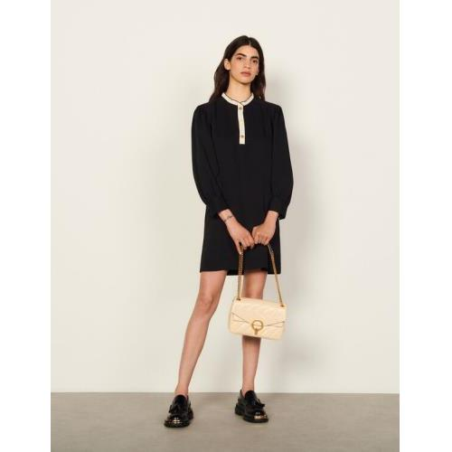 산드로 러플 원피스 Sandro Dress with two-tone ruffle trim,Black