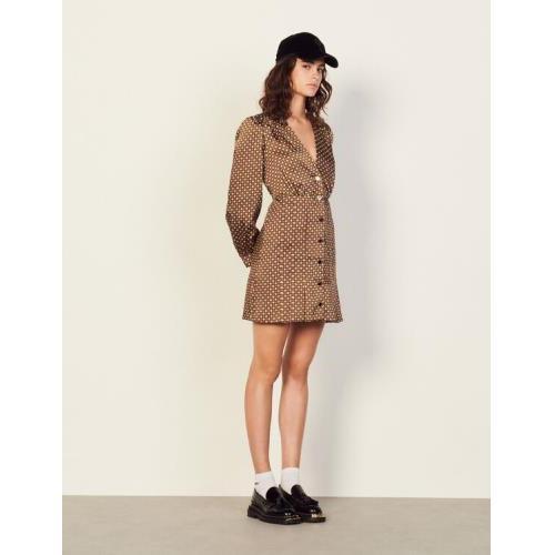 산드로 숏 프린트 원피스 Sandro Short printed dress,Brown / Black