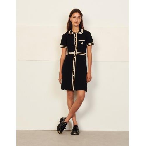 산드로 반팔 원피스 Sandro Short-sleeved dress with contrast trim,Black