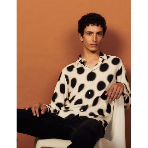 산드로 옴므 폴카 도트 프린트 셔츠 - 에크루 (정국 착용) Sandro Printed viscose shirt SHPCM00496
